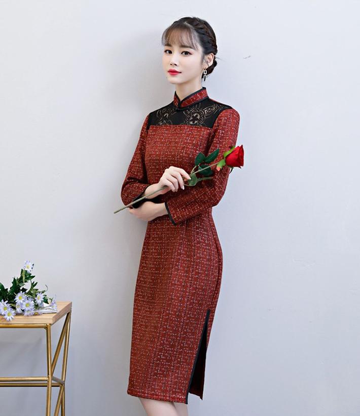 烫金麂皮绒布做成的复古改良立领麂皮绒旗袍连衣裙