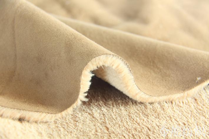 麂皮绒复合羊剪绒,毛高1CM,复合好成品,达1.2CM,海绵火焰复合