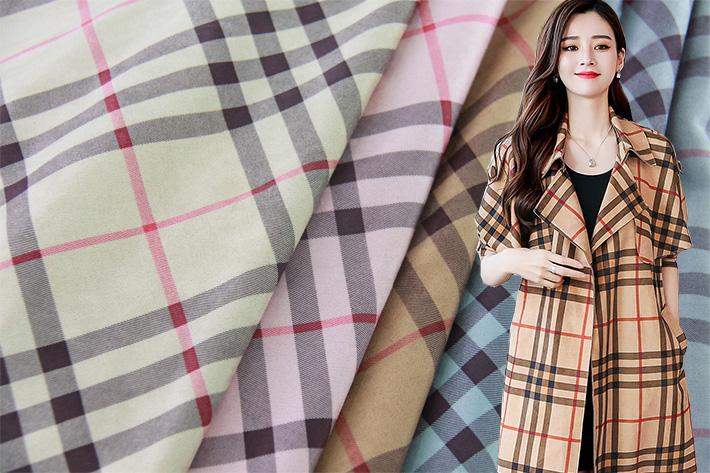 印花麂皮绒,清新格纹,优质风衣大衣面料