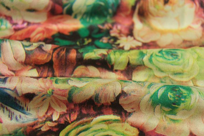 印花麂皮绒,植物花型,栩栩如生