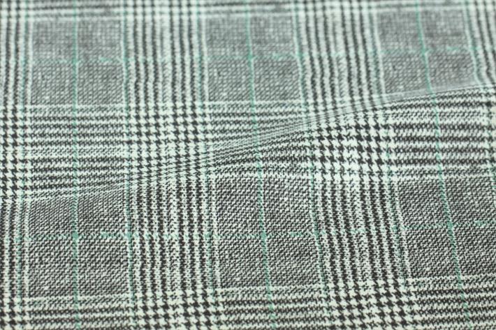 绿色印花千鸟格纹麂皮绒