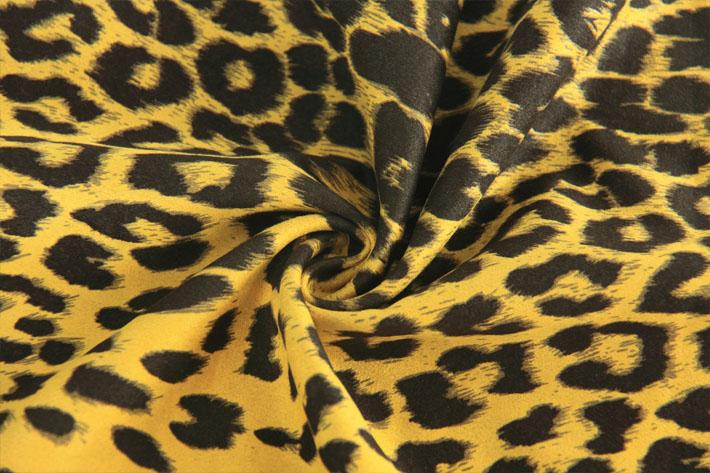 亮黄色豹纹麂皮绒