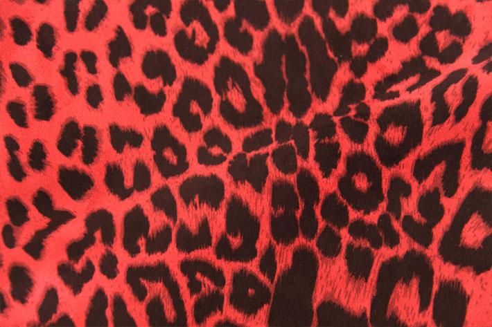 红色豹纹麂皮绒