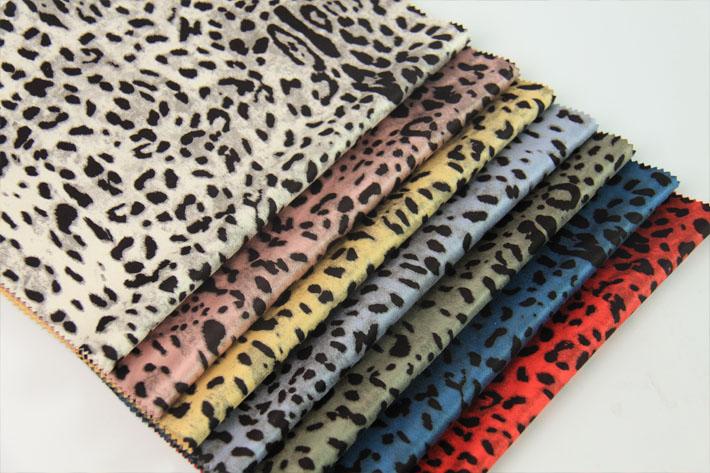 豹纹麂皮绒,底布纬编麂皮绒面料,多颜色现货供应
