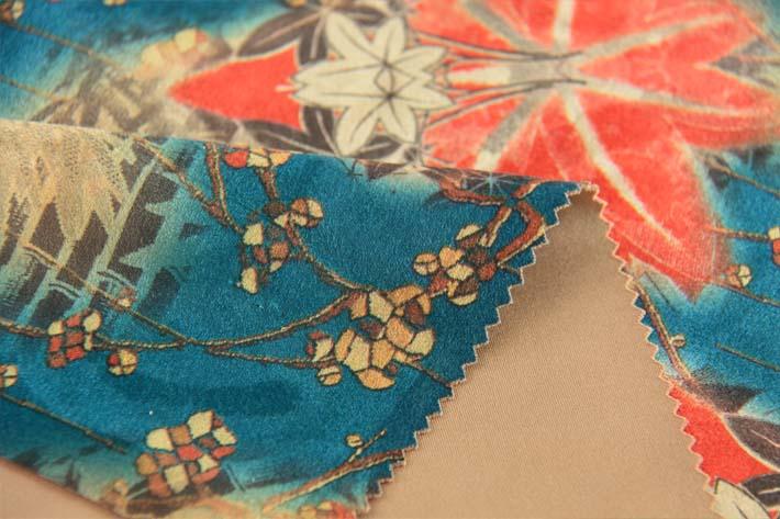 印花麂皮绒,绒面细节及背面效果